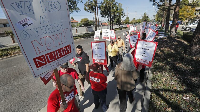 More than 100 housekeeping and food service staff members who work for contractor Sodexo at Fountain Valley Regional Hospital & Medical Center picketed in February in support of increased wages and more staffing.