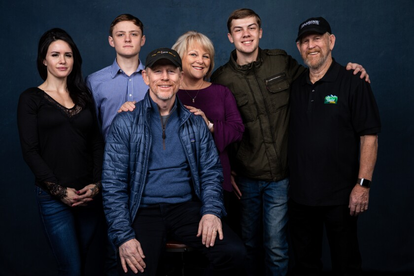 """Director Ron Howard with some of the subjects of his documentary """"Rebuilding Paradise."""""""