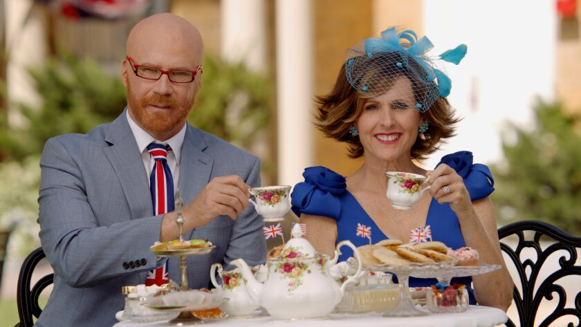 This image released by HBO shows Will Ferrell as Cord Hosenbeck, left, and Molly Shannon as Tish Cat