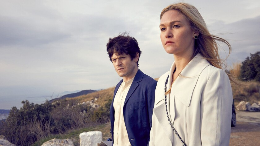 """Julia Stiles and Iwan Rheon in the new series """"Riviera"""" on Ovation."""