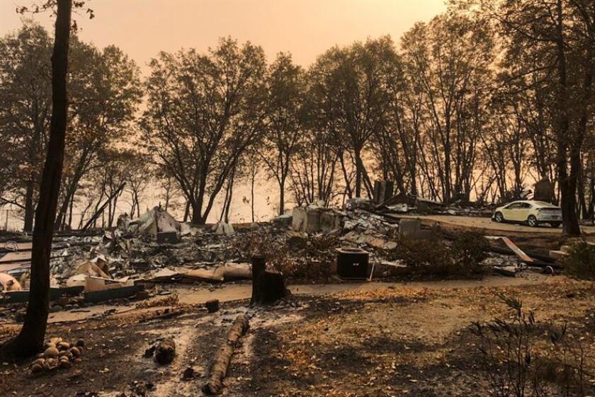 Fotografía cedida por el organismo CalFire Forestry Maps hoy, 20 de noviembre del 2018 que muestra el estado de una zona devastada por el fuego en el área afectada por un incendio en Magalia, California, el 18 de noviembre del 2018. EFE/ Calfire Incident Forestry Maps/SÓLO USO EDITORIAL/PROHIBIDA SU VENTA