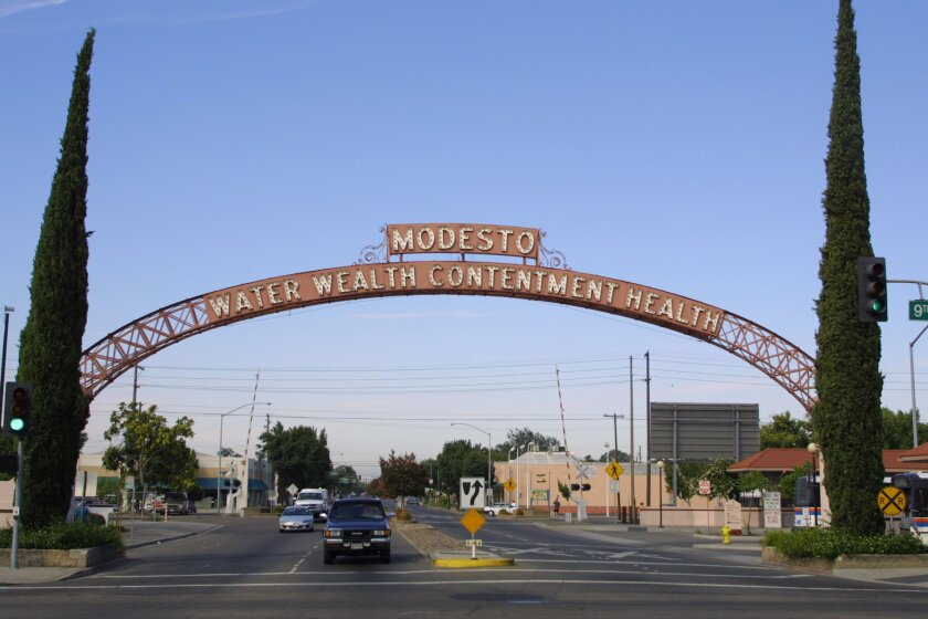 The archway leading into the city of Modesto