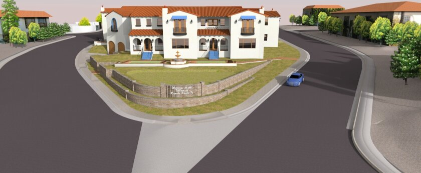 Renderings show different views of the proposed Village Gateway project on Via de Santa Fe and La Granada. The project would replace a gas station on the parcel of land.