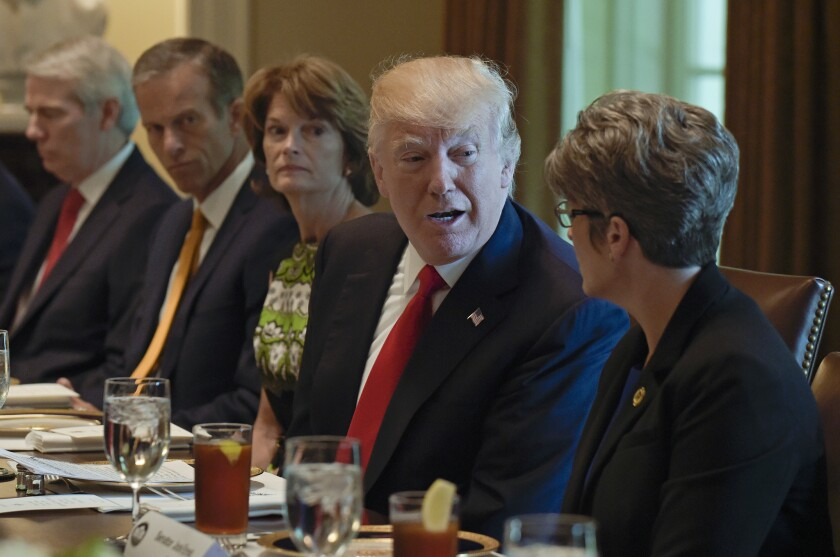 President Trump hosts Republican senators for lunch at the White House to discuss repealing the Affordable Care Act.