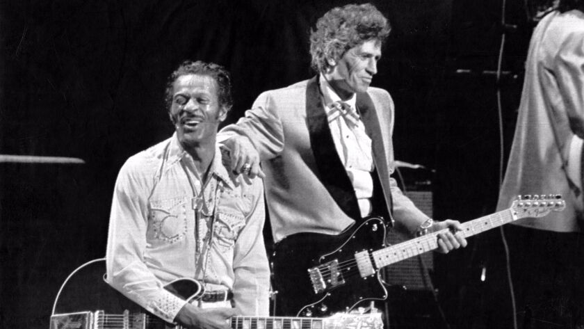 OCT. 17 1986: St. Louis, Mo.Chuck Berry , 60, with guitarist Keith Richards of the Rolling Stones ce