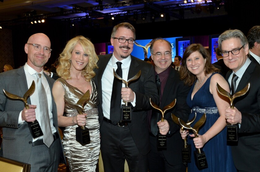 """""""Breaking Bad"""" writers Sam Catlin, left, Moira Walley-Beckett, Vince Gilligan, Thomas Schnauz, Gennifer Hutchison and Peter Gould at the 2014 Writers Guild Awards."""