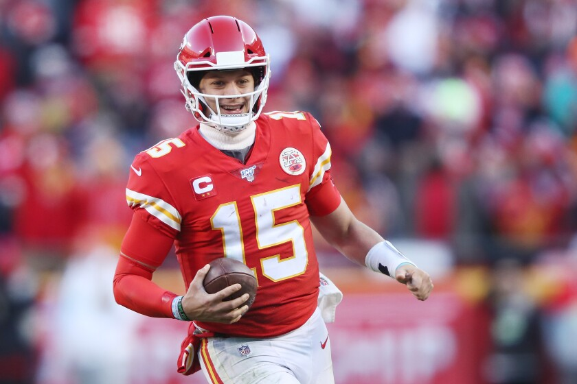 Chiefs quarterback Patrick Mahomes reacts in the second half against the Tennessee Titans in the AFC Championship Game at Arrowhead Stadium on Sunday in Kansas City, Mo.