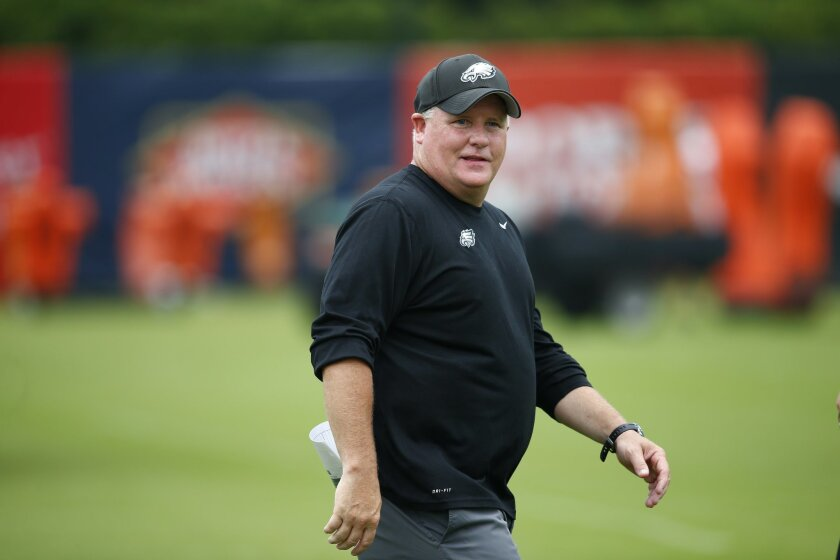 Philadelphia Eagles head coach Chip Kelly walks off the field during NFL football training camp Friday, Aug. 1, 2014, in Philadelphia. (AP Photo/Matt Rourke)