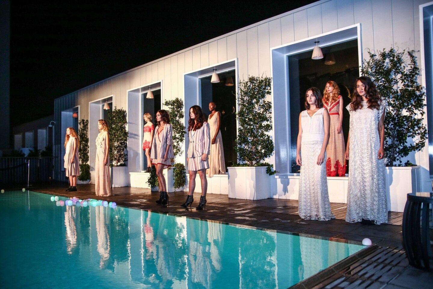 Looks from the Korovilas spring 2016 collection presented at the Mondrian Hotel on Oct. 7, 2015, during Los Angles Fashion Week.