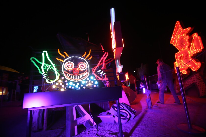 """Guns 'n' Booze""  is part of Tim Burton's exhibit at the Neon Museum."