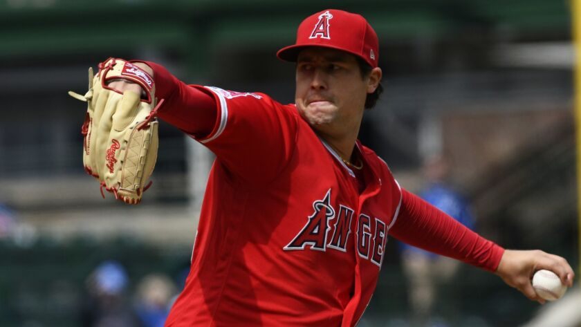 Angels pitcher Tyler Skaggs delivers a pitch against the Cubs on April 19.