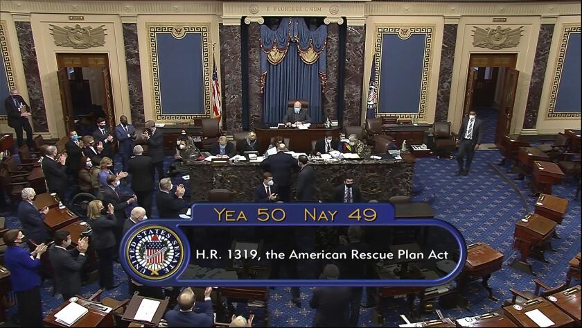 vote total of 50-49 on Senate passage of the COVID-19 relief bill