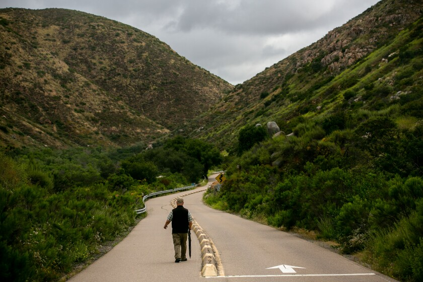 A hiker heads toward the South Fortuna Peak (left) and Kwaay Paay Peak (right) at Mission Trails Regional Park on Tuesday. The City Council is considering an update to the park's master plan.