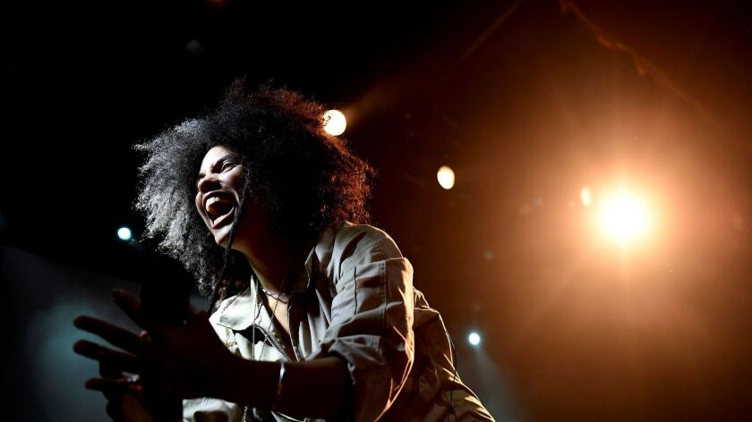 Lisa-Kaindé Díaz of Ibeyi performs during the duo's concert at the Fillmore in San Francisco.