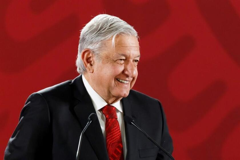 President Andres Manuel Lopez Obrador speaks during a press conference at the National Palace in Mexico City, Mexico, on March 11, 2019. EPA-EFE/Jose Mendez