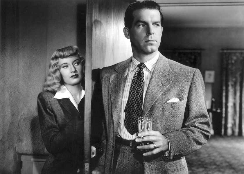 Left to right: Barbara Stanwyck and Fred MacMurray in the movie DOUBLE INDEMNITY (1944), directed by