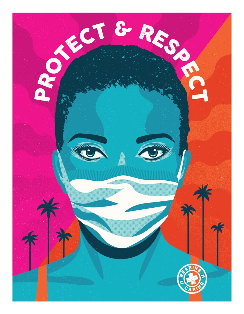 "A ""Protect and Respect"" poster, designed by Shepard Fairey's Studio Number One and Camilla Lonis, of a woman wearing a mask."