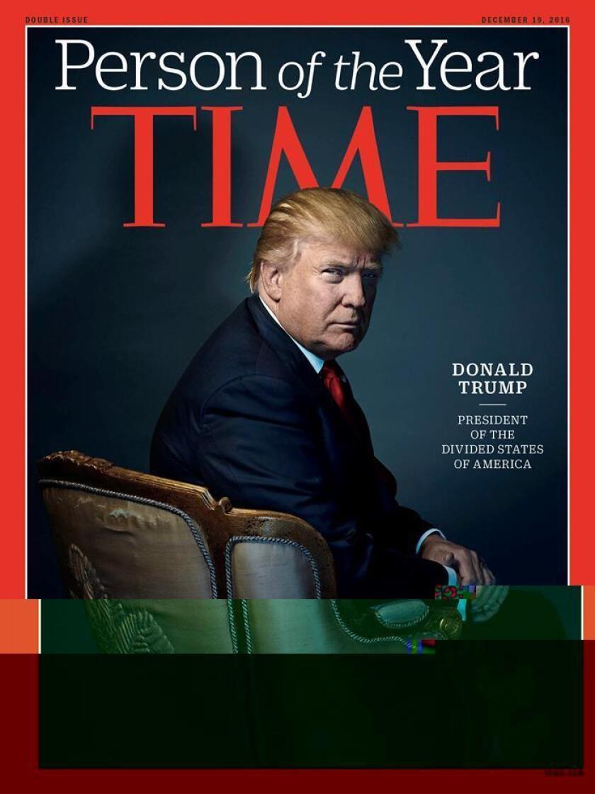 """La revista Time eligió hoy como persona del año al presidente electo, Donald Trump, que se llevó el premio por su """"revolución"""" contra la clase gobernante y su creciente influencia en el acontecer mundial. EFE/ SÓLO USO EDITORIAL/PROHIBIDA SU VENTA"""