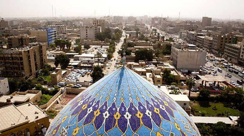 A view of downtown Baghdad with the Dome of the 17 Ramadan Mosque in the foreground. The government has already spent $134 billion on medical care and disability benefits for veterans returning from Iraq and Afghanistan.