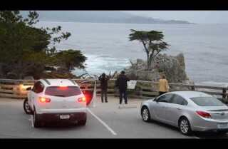 A Minute Away: Boat, fog and rocks, Carmel to Monterey
