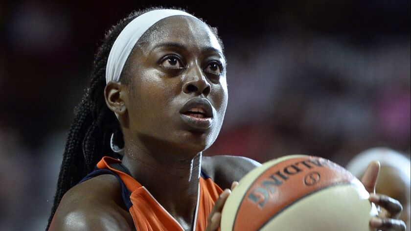 Chiney Ogwumike, then with the Connecticut Sun, during the second half of a WNBA game in Uncasville, Conn.