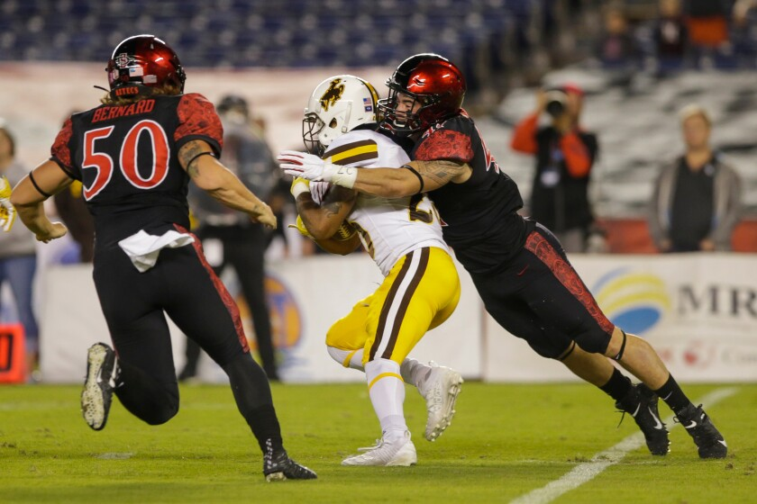 San Diego State was challenged with slowing down Wyoming's running game in Saturday night's game at SDCCU Stadium.