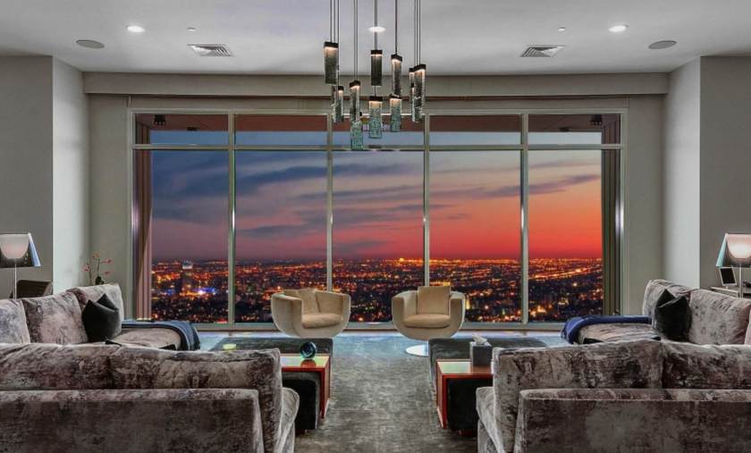 View of a sunset from Matthew Perry's full-story penthouse in the Century building.