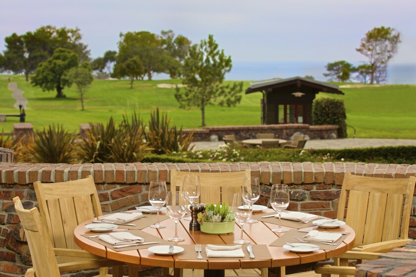 The Grill at The Lodge's patio has ocean and Torrey Pines golf course views.