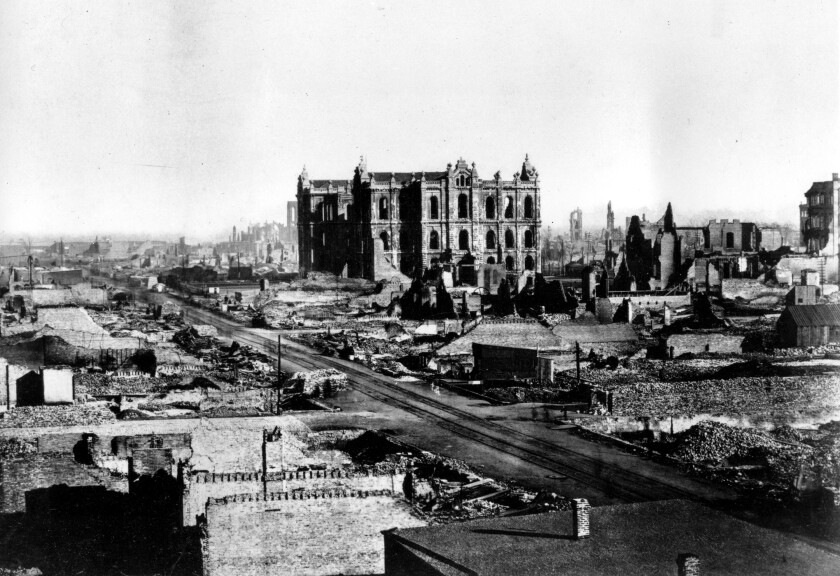 FILE - This general view shows the Chicago Court house and downtown area in the aftermath of the fire in Chicago, Ill., 1871. AP did not have photographers at the time of the Chicago fire but has since added photos like this one in the public domain to our photo archive. (AP Photo, File)