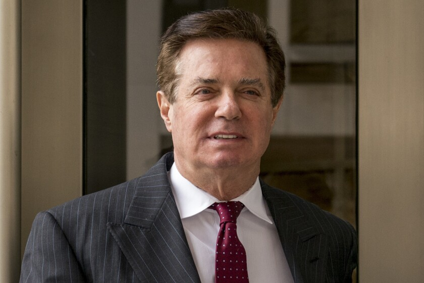 Paul Manafort, President Donald Trump's former campaign chairman, leaves the federal courthouse in Washington onApril 4, 2018.