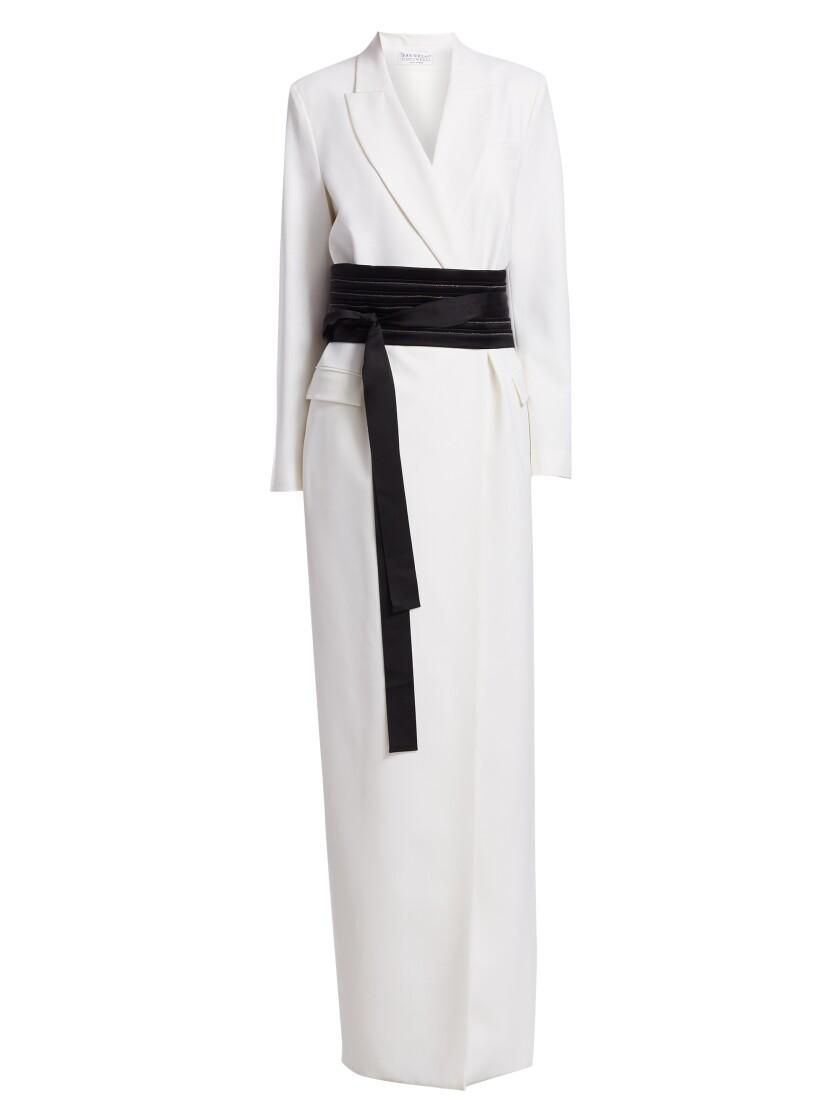 A Brunello Cucinelli coat dress with a kimono belt.