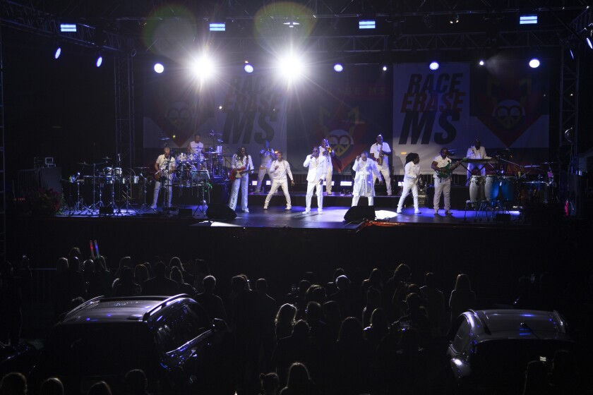 """PASADENA, CA - JUNE 04: Earth, Wind & Fire headlined the """"Race to Erase MS"""" benefit at the Rose Bowl on Friday, June 4, 2021 in Pasadena, CA. (Myung J. Chun / Los Angeles Times)"""