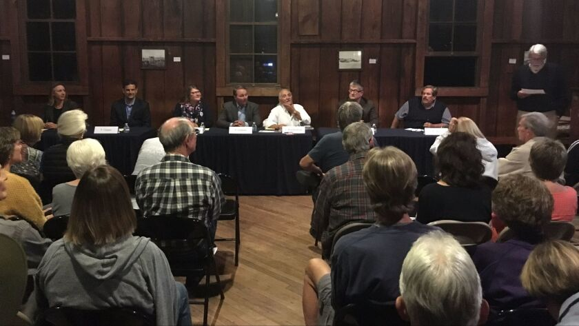 Encinitas Mayoral and City Council candidates participate in a forum Oct. 5 at the Olivenhain Meeting Hall.