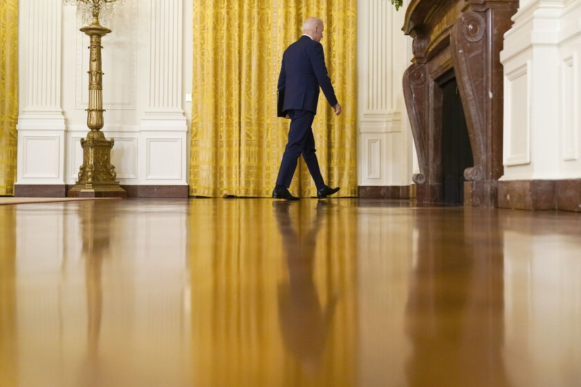 President Joe Biden leaves after speaking about Russia in the East Room of the White House, Thursday, April 15, 2021, in Washington. (AP Photo/Andrew Harnik)
