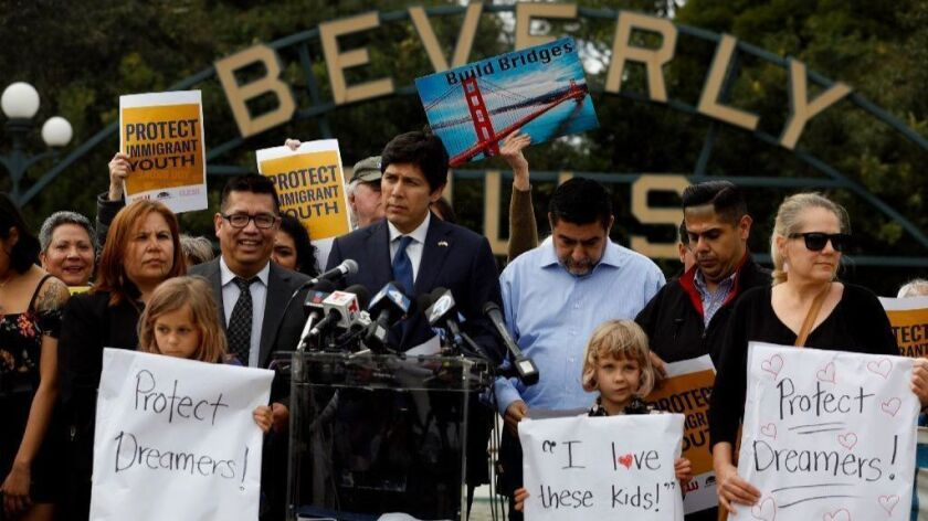 State Sen. Kevin de León speaks in Beverly Hills on March 12. De León, the author of Senate Bill 54, and a diverse coalition of civil rights and labor groups held a rally on the eve of President Trump's visit to Beverly Hills.