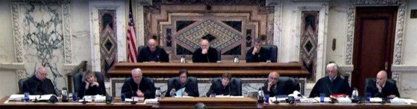 A screenshot of an en banc panel of the 9th U.S. Circuit Court of Appeals on June 6, 2016.