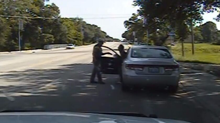 A July 10, 2015, frame from a dashcam video of the confrontation between former state trooper Brian