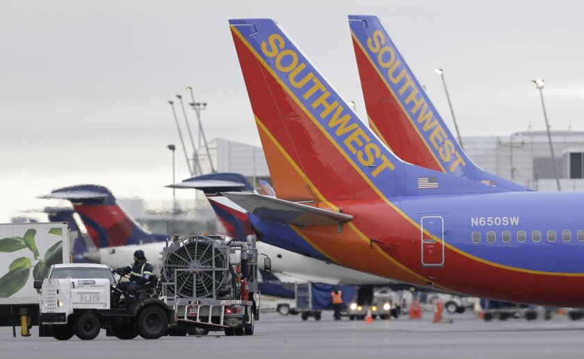 Two Southwest Airlines airplanes