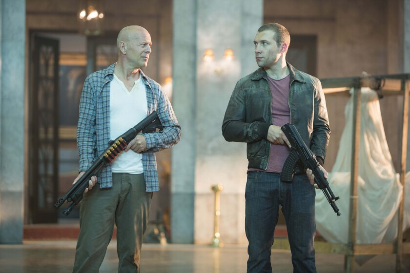 "Bruce Willis and Jai Courtney star in 2012's ""A Good Day to Die Hard."""
