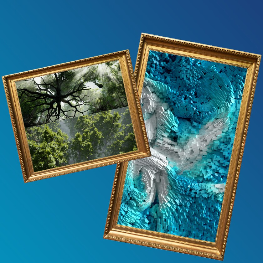 Artwork showing trees on the left and abstract wind projections in blue on the right.
