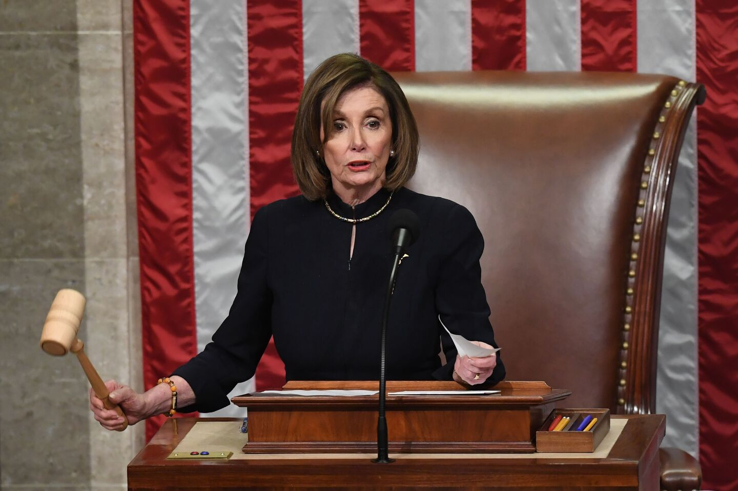 US Speaker of the House Nancy Pelosi presides over Resolution 755, Articles of Impeachment Against President Donald J. Trump as the House votes at the US Capitol in Washington, DC, on December 18, 2019. (Photo by SAUL LOEB / AFP) (Photo by SAUL LOEB/AFP via Getty Images) ** OUTS - ELSENT, FPG, CM - OUTS * NM, PH, VA if sourced by CT, LA or MoD **
