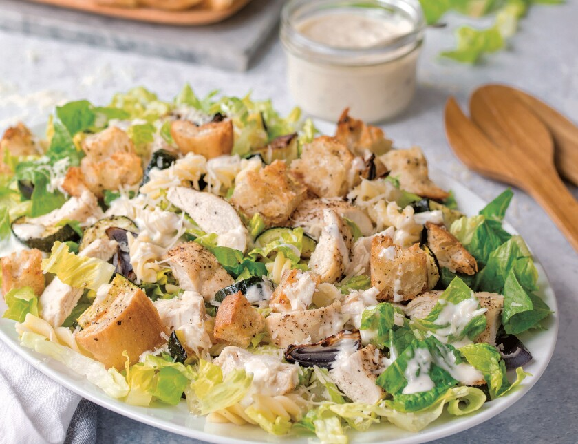 """Chicken Caesar Pasta Salad with Roasted Vegetables, from the """"Seriously Good Salads"""" cookbook."""