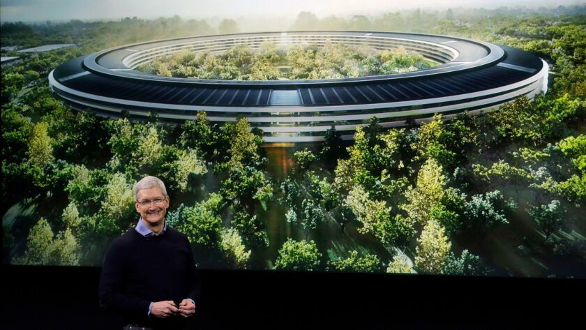 Tim Cook discusses the new Apple campus last year.