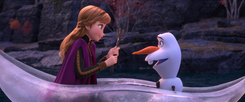 "Anna (voiced by Kristen Bell) and Olaf (voiced by Josh Gad) in ""Frozen 2."""