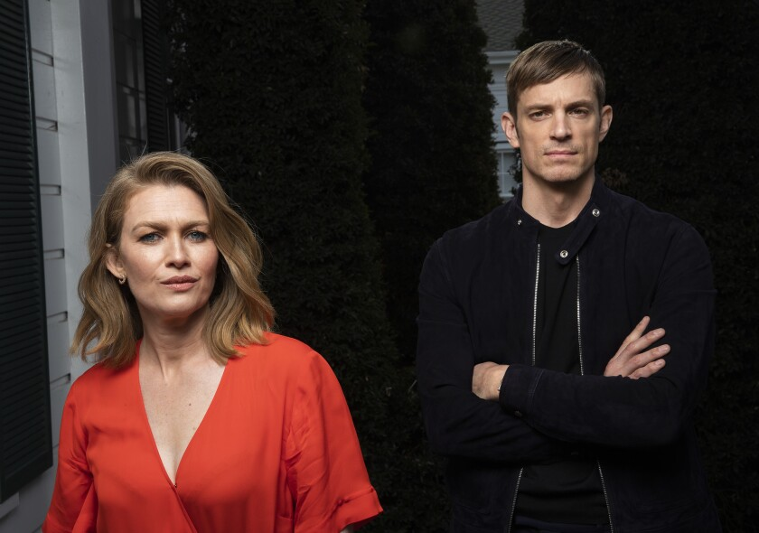CULVER CITY, CA-FEBRUARY 15, 2019: Mireille Enos and Joel Kinnaman, who star in the American action