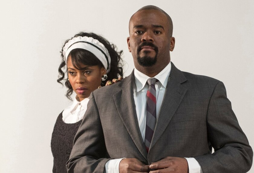 """Danielle Mone Truitt and Larry Bates in San Diego Repertory Theatre's """"The Mountaintop."""""""