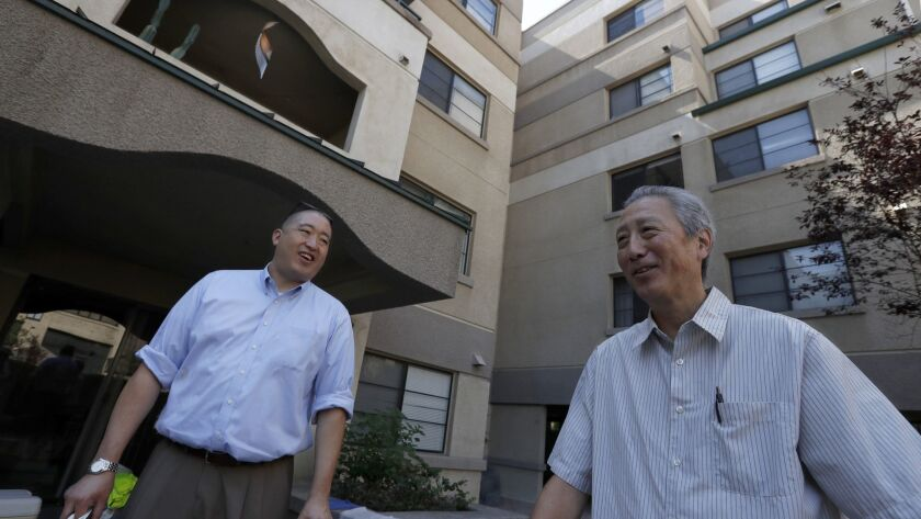 LOS ANGELES, CALIF. - AUG. 9, 2018. Grant Sunoo, left, and Erich Nakano, executives with the Little