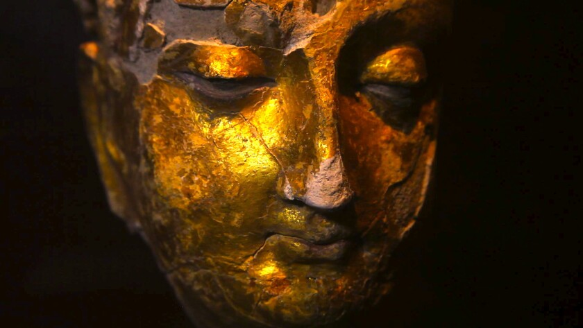 A golden Buddha discovered at Mes Aynak