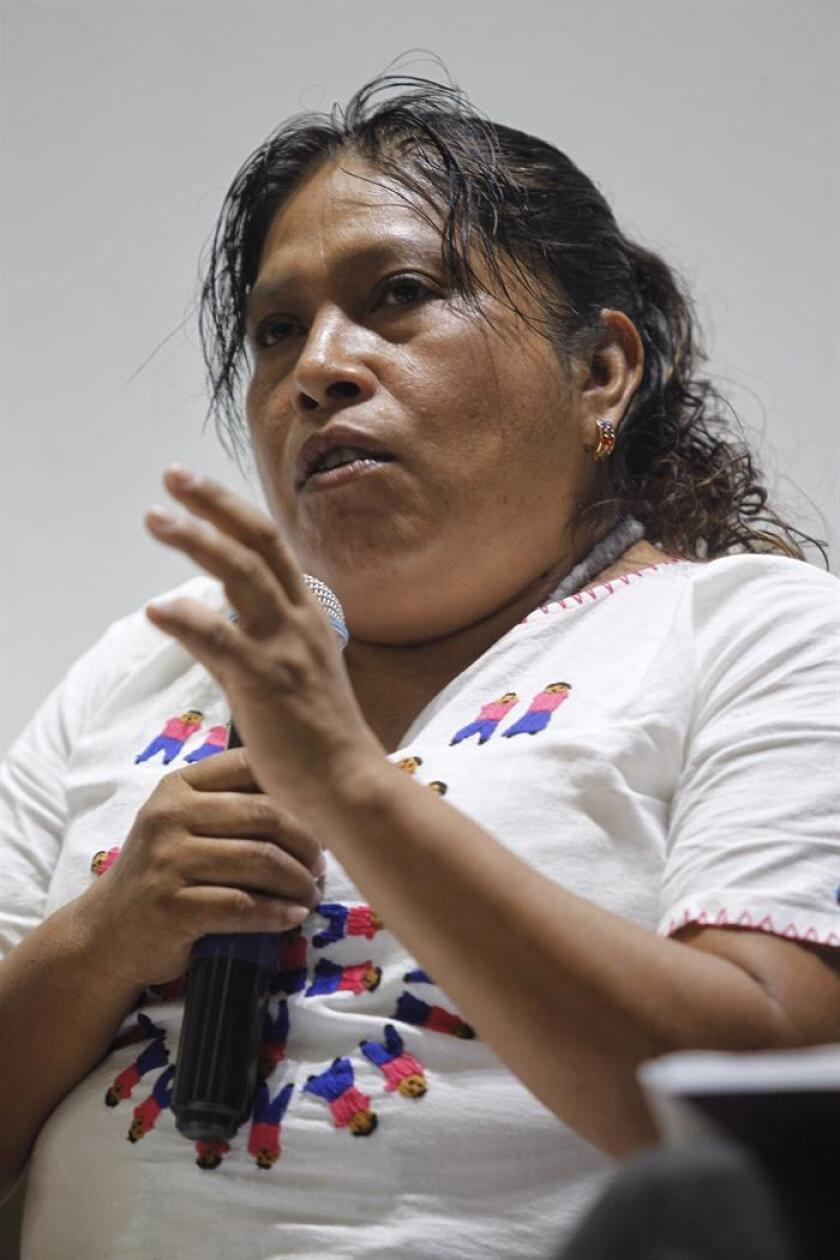 Norma Mesino de la Organización Campesina de la Sierra del Sur habla durante rueda de prensa hoy, en Ciudad de México (México). EFE