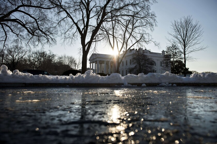 A view of the White House in Washington, D.C., the day after a snowstorm hit the nation's capital.